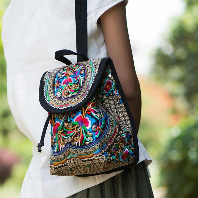 Stacy saco 110915 venda quente estilo étnico senhora sacos de viagem pequena mochila de lona menina crianças mini floral impressão