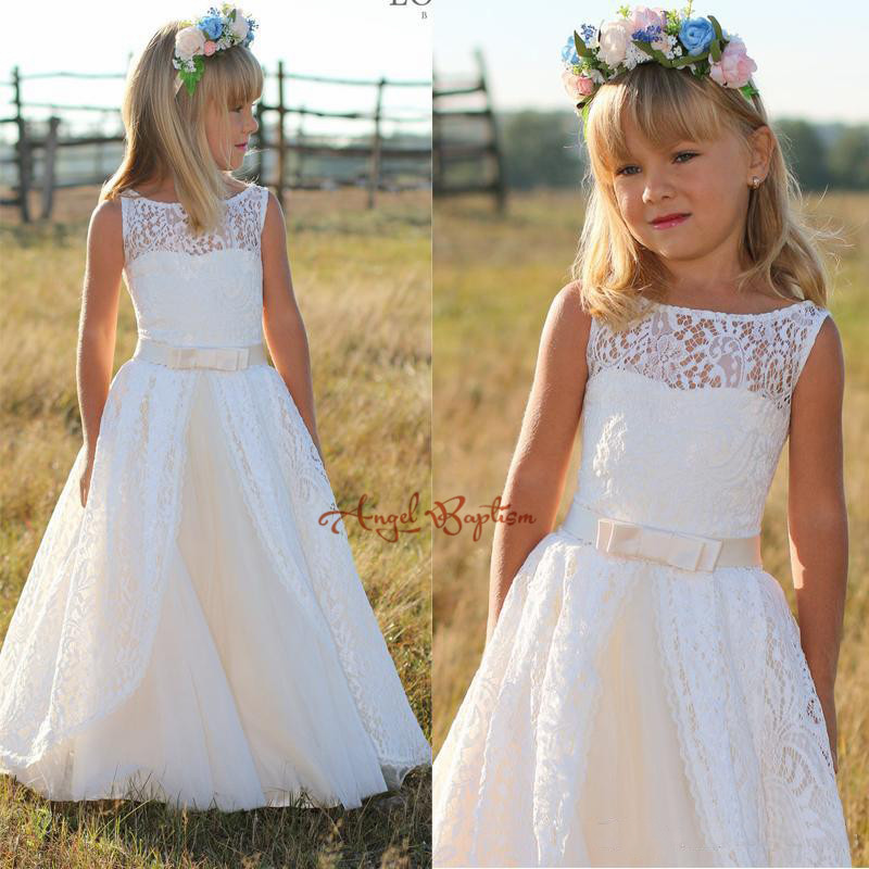 White/Ivory sheer Lace Flower Girl Dress for country wedding Floor Length  junior bridesmaid first communion outfit