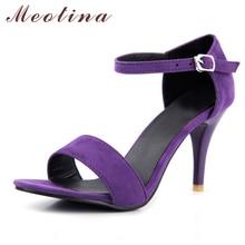 Meotina обувь женские босоножки летние модные пикантные босоножки на высоком тонком каблуке вечерние туфли-лодочки с завязками на лодыжках и открытым носком дамская обувь фиолетовый цвет размеры 34–43