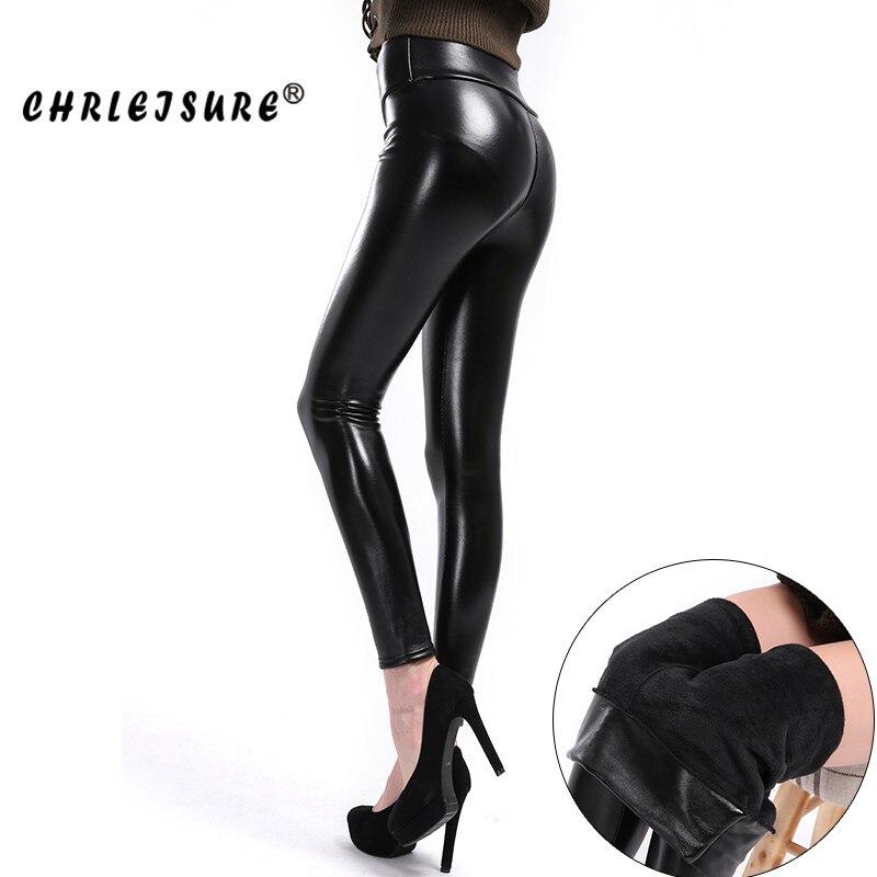 CHRLEISURE  Leather Leggings For Women Spring and winter Solid  High Waist standard Pants Slim PU Punk women's Leggings