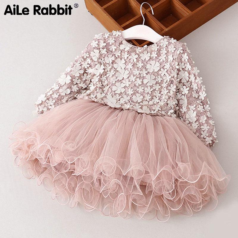 AiLe Králík Šaty Nové šněrovací krajka Květinové princezna 2018 Jarní dívky šaty Zimní dlouhý rukáv Petals Dívky Oblečení dětské šaty