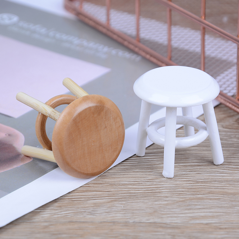 1/12 Scale Furniture Round Floral Stool Chair Acc For Dolls House Decor Kids Children Pretend Play Toy Dollhouse Miniature