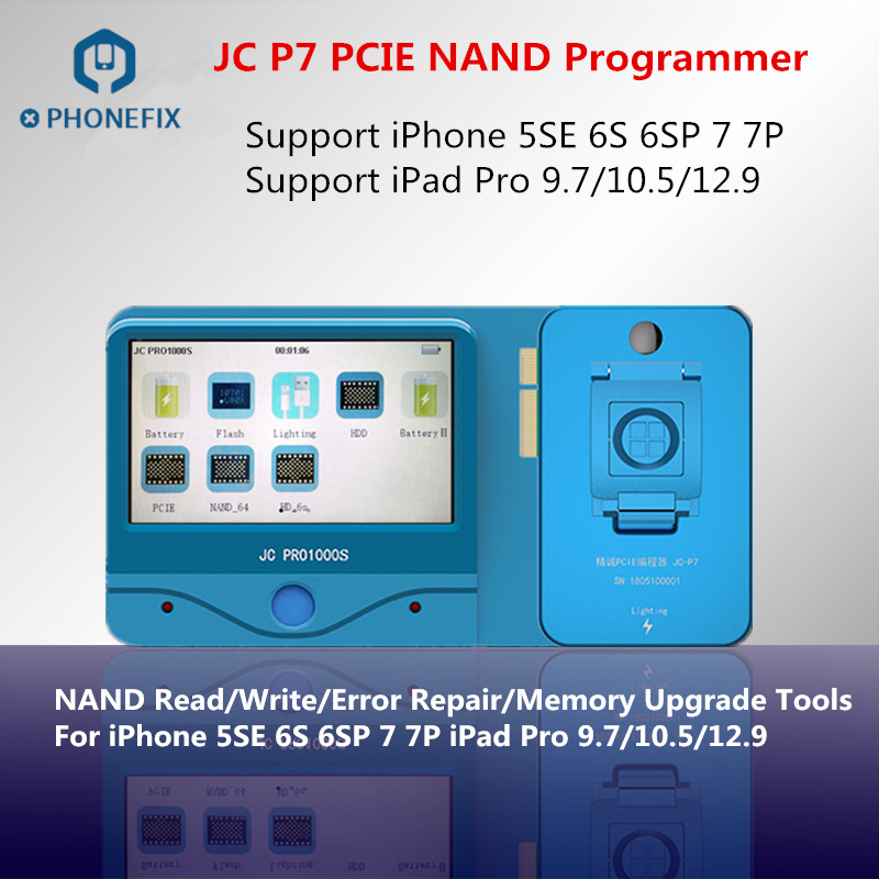 PHONEFIX JC Pro1000S JC P7 NAND Programmer SN Read Write Memory Upgrade Error Remove Tools For iPhone 5SE 6S 6SP 7 7P iPad ProPHONEFIX JC Pro1000S JC P7 NAND Programmer SN Read Write Memory Upgrade Error Remove Tools For iPhone 5SE 6S 6SP 7 7P iPad Pro