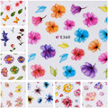 1 Sheet 3D Nail Sticker Colorful Fresh Flower Leaf Manicure Nail Art Decoration E358-368