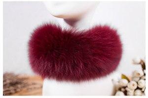 SCM043 шарф из лисьего меха шарфы-повязки на шею теплая накидка шаль-пончо снуд много цветов 57*12 см - Цвет: wine red