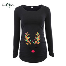 a5b5cc6e5037b Halloween Skeleton Maternity Blouse Tops Pregnancy Clothes Flattering Side  Ruching Fitted Skull Mama Shirt Long Sleeve