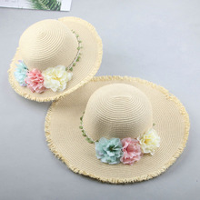 SUOGRY Kids Summer Straw Hat Girls Flower Outdoor Beach Visor Adult Sun Korean Flowers Folding Parenting Caps