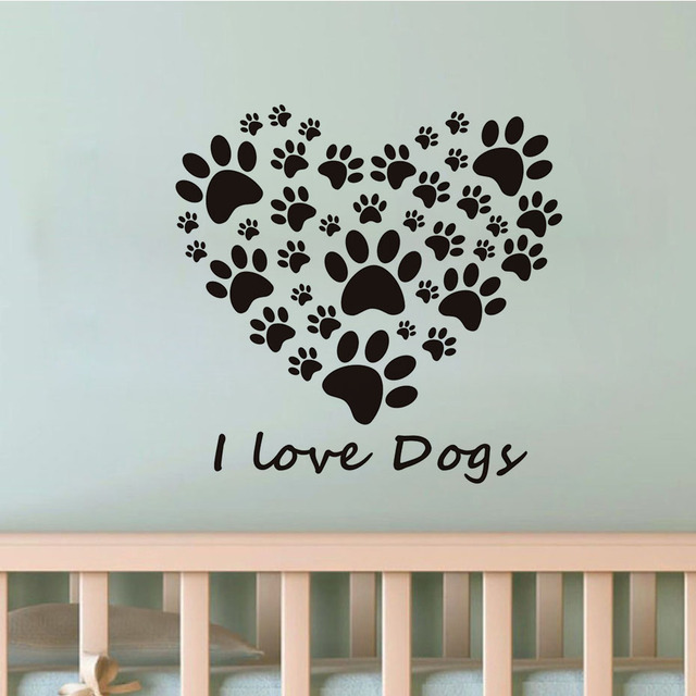 i love dogs paw print heart wall stickers for living room removable