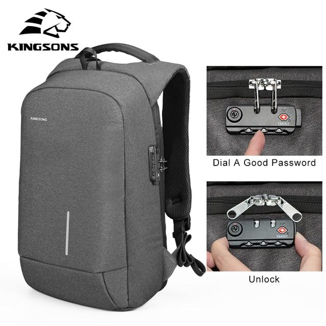 Kingsons мужская сумка 13''15'' USB зарядные рюкзаки Anti-theft рюкзак сумка для ноутбука сумки для мужчин's женщин модные дорожные сумки нейлон