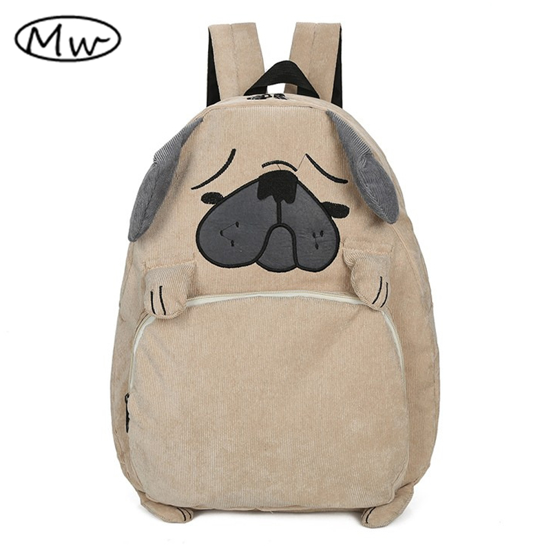 2019 Japanese Cute Cartoon Animals Backpack School Bags For Girls Larger Capacity Corduroy Backpack High School Students Bag