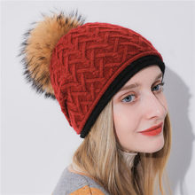 d778f8b44df Winter Hat For women Raccoon Pom Pom Beanies Hat For Girl Cashmere And  Rabbit Fur Knitted