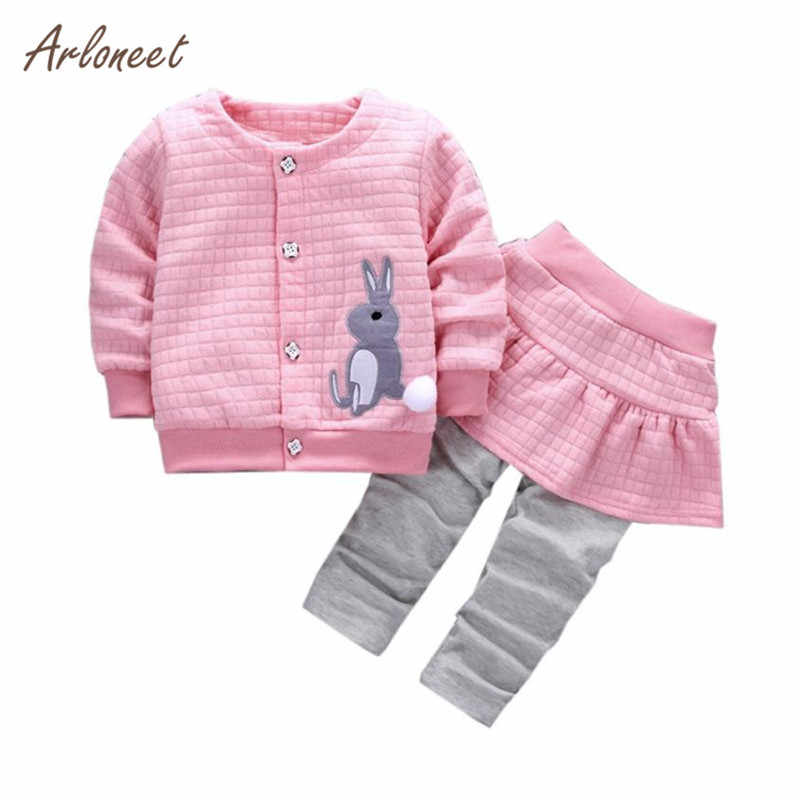 ARLONEET 2Pcs Infant Toddler Baby Girls Rabbit Print Tops Coat+Pants Outfits Clothes Se Long Sleeve Cotton Blend Striped 0530