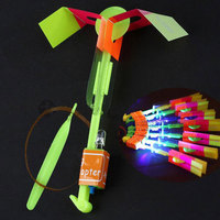 100 Pcs/lot Amazing Light Arrow Rocket Helicopter Flying Toy LED Light Flash Toys For Children Light Up Toy Rubber Band Catapult
