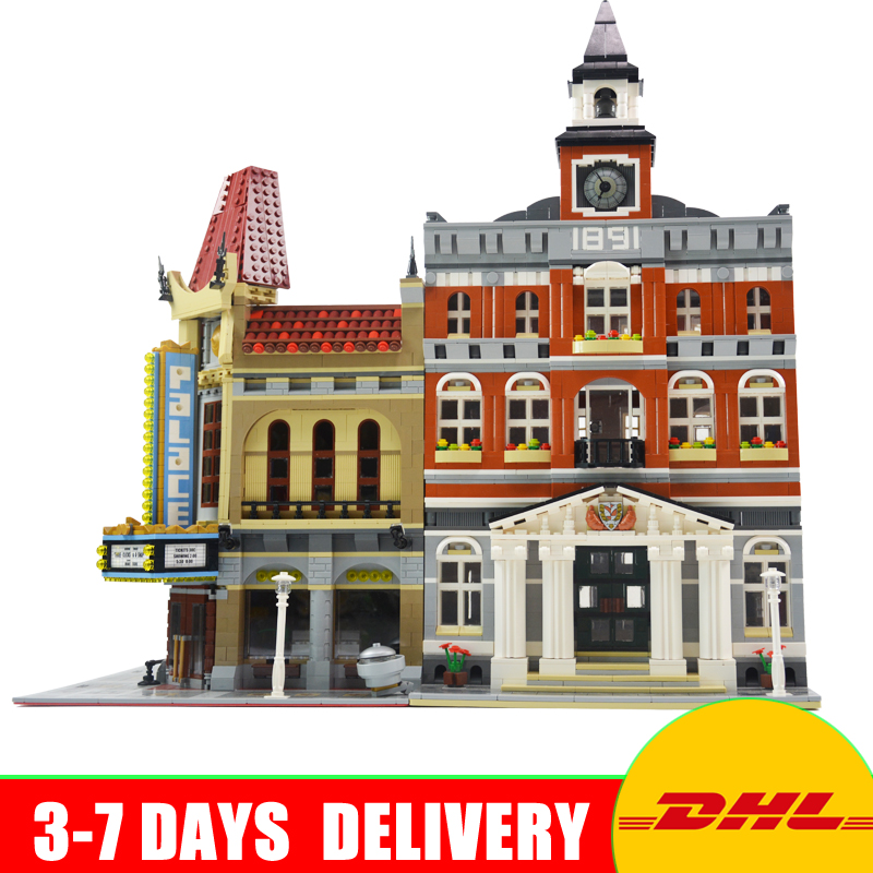 Modular City Town Street LEPIN 15003 Town Hall 15006 Palace Cinema Model Building Kit Blocks Toys Clone 10224 10232 lepin15003 2859pcs city series the town hall model building kits blocks kid toy gift compatible with 10224