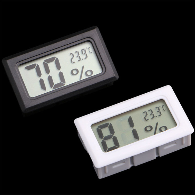 Mini Black Digital LCD Temperature Humidity Meter Indoor Thermometer Temperature Sensor Desktop Office Supplies