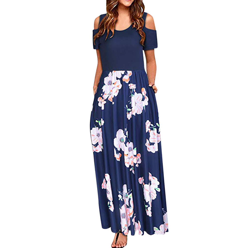 Women Cold Shoulder summer dress Pocket Floral Print Elegant Maxi Short Sleeve Casual dresses woman party night vestidos verano|Dresses| - AliExpress