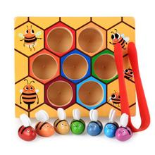 Montessori Hive Games Board 7Pcs Bees with Clamp Fun Picking Catching Toy Educational Beehive Baby Kids Developmental Toy Board