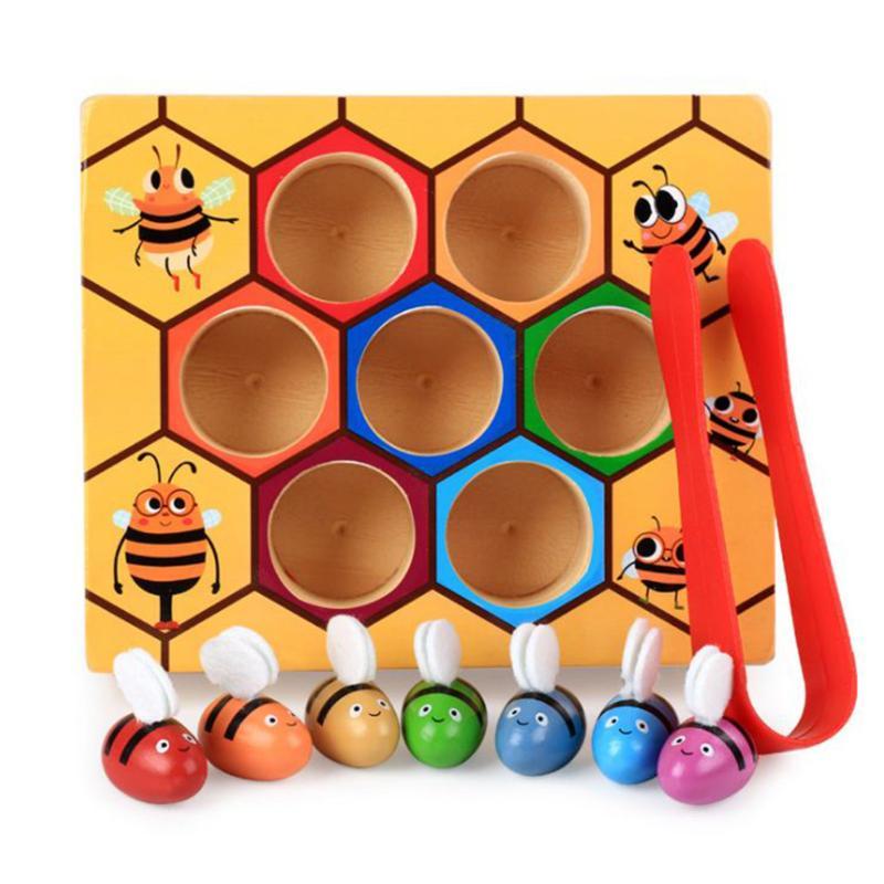 Montessori Hive Spiele Bord 7 stücke Bienen mit Clamp Spaß Picking Fangen Spielzeug Pädagogisches Beehive Baby Kinder Entwicklungs Spielzeug Bord