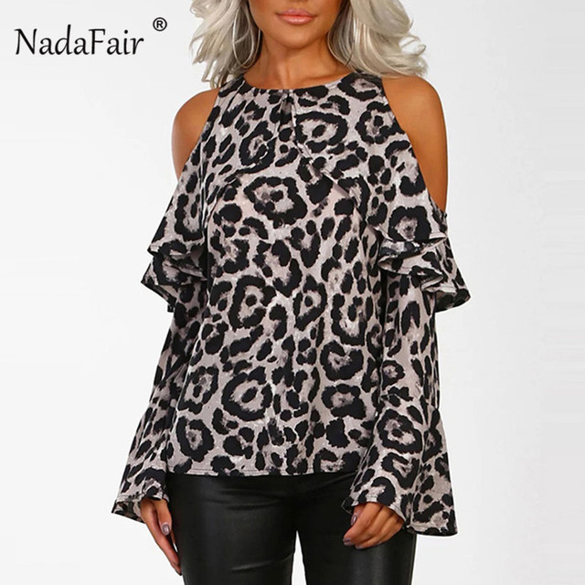 103057dbb81 Nadafair ruffles off shoulder loose leopard print shirt women flare long  sleeve sexy animal print t