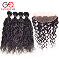 Peruvian Natural Wave With Lace Frontal Closure 13*4 Ear To Ear Lace Frontal Closure With Bundles 5pc/lot Unprocessed Human Hair