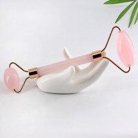 Роллер для массажа лица каменный массаж кожи уход за кожей розовый КВАРЦЕВЫЙ роликовый для похудения Массажер для лица лифтинг инструмент