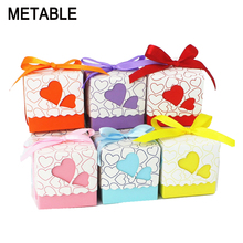 Metable 100pcs/lot Romantic Double heart Candy Boxes  Festival Wedding casamento Xmas Gift Packaging Box 5*5*5cm wc161s