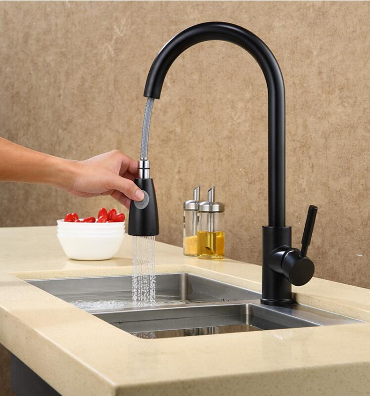 Fashion German technology high quality brass black and chrome single lever hot and cold pull out sink faucet kitchen tap fashion brass chrome hot and cold single lever hot and cold kitchen sink faucet