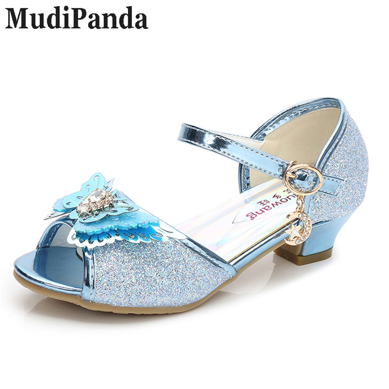 MudiPanda 4 colorgirls сандалии с бабочкой Детские блестящие босоножки 2018  новые летние туфли принцессы дети Обувь на высоком каблуке со стразами обув. c7919fc90b1