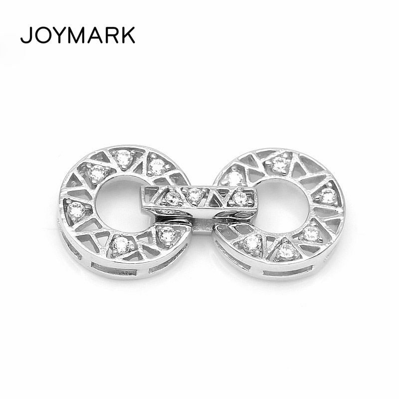 21x10.5mm Zircon Pave Double Ring 925 Sterling Silver Lock Clasps Connectors For Pearl Bracelet Necklace Jewelry Making SC CZ103