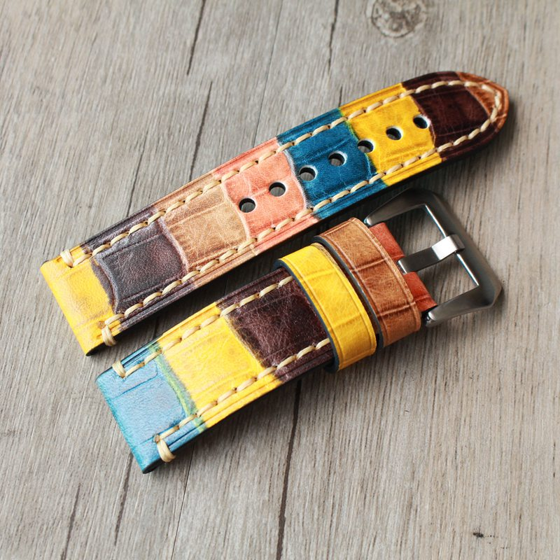20 22 24mm High Quality Fashion Straps New Design Genuine Leather Bamboo Pattern Watch Band Men Watch For PAM Branded Watch