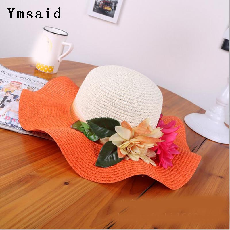 Նորաձևություն մայրիկ դուստր գլխարկ Lady Wide Large Brim Floppy Summer Beach Sun Straw Hat Cap with Flower Free Shipping