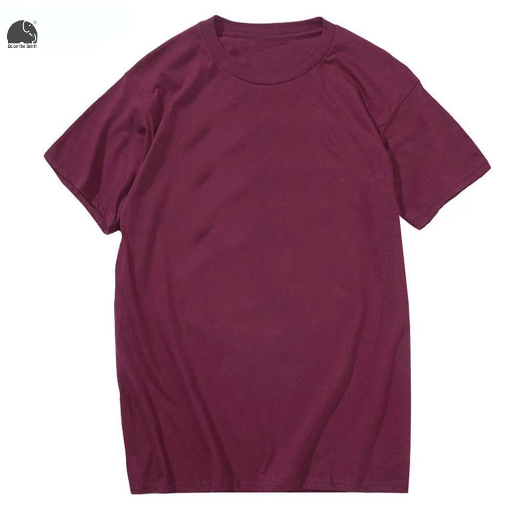 Plain black t shirt quality - Enjoythespirit 2017 Men S Fashion T Shirt Plain Tee Shirt Maroon Black And Pink Solid Color Tops Short Sleeve Cotton Male Shirt