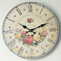 Rose Nostalgia Wood Wall Clock decoration Mute Circular Large Clocks Decorative Wall Hotel restaurant Home Decor
