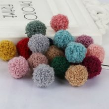 10Pcs 15mm Handmade Round Fluffy Balls Red Blue Purple Black Pompom Beads Plush Charms for DIY Earring Pendant Jewelry Making(China)