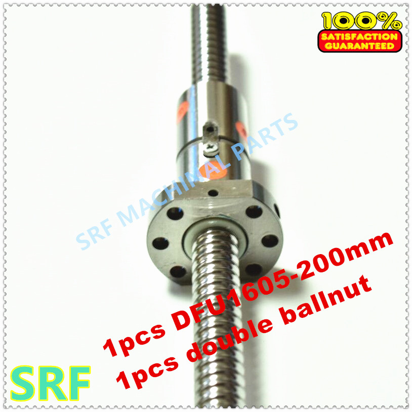 Zero Backlash 1pcs 16mm DFU1605 Double Rolled ballscrew L 200mm with 1605 Double Ball nut without