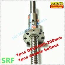 Нулевой люфт 1 шт. 16 мм DFU1605 двухкатаный шариковый винт L = 200 мм с 1605 двойной шариковой гайкой без конца обработанный