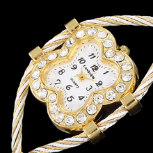 Luxury New Fashion Crystal Lucky Clover Design Metal Weave Dress Wristwatch Women Girls Ladies Bracelet Bangle Watches Relojes