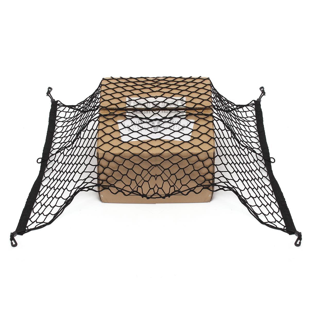 100 см x 70 см черный нейлон багажник автомобиля Чистая Чемодан хранения Организатор сумка сзади хвост ячеистой сети с 4 крючки