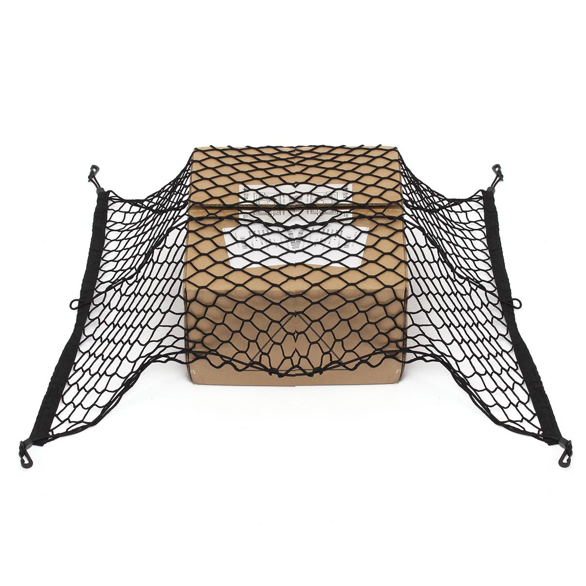 100 Cm X 70 Cm Schwarz Nylon Auto Stamm Net Gepäck Lagerung Veranstalter Tasche Hinten Schwanz Mesh Netzwerk Mit 4 Haken