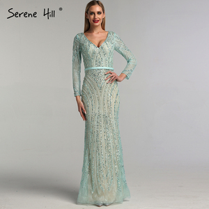 Image 5 - 2020 Long Sleeves Luxury Sparkly Tulle Evening Dresses V Neck Mermaid Beading Sequined Evening Gown Real Photo LA6396