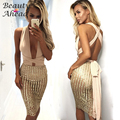Sexy Verão Macacão Mulheres 2017 Evening Clube magro v profundo partido Macacões Playsuits Jumpsuits Bandagem Lantejoulas Curto Femme ouro