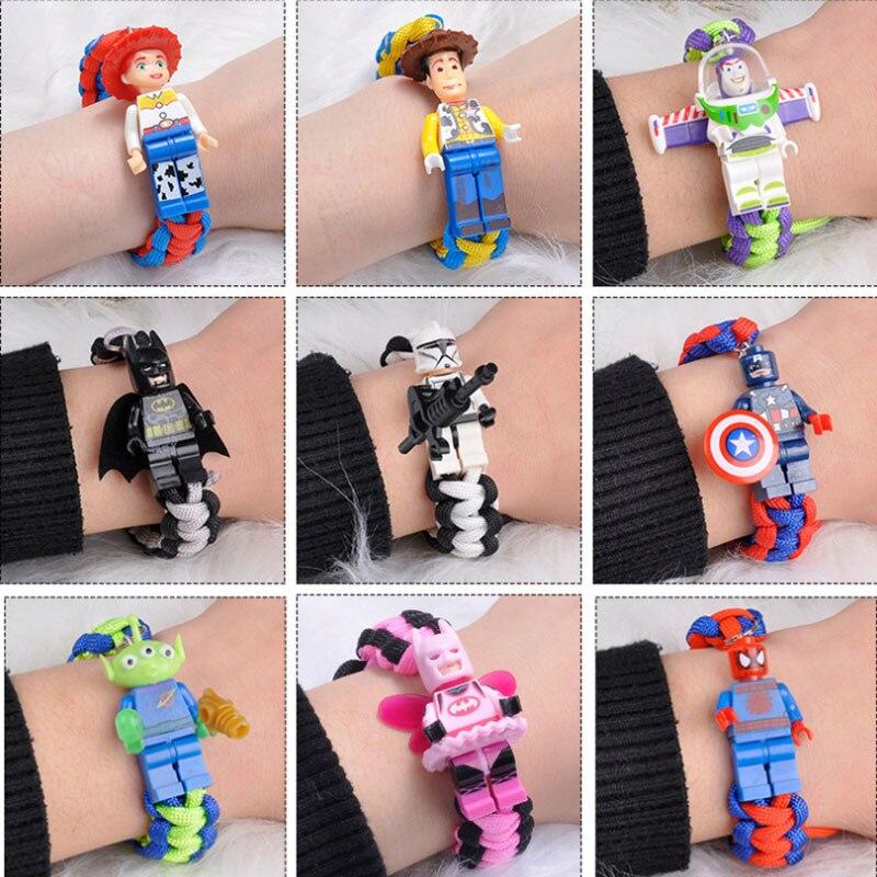 Figuras de acción de Toy Story 4 de Disney, figuras de acción de bloques de construcción de Marvel, Buzz Lightyear, Woody, pulsera de Spiderman, Chico, juguetes de regalo