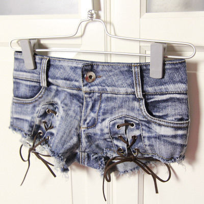 Ripped Short Jeans Bandage Lace-Up Low-Waist Sexy Summer-Style Femme Women Blue New