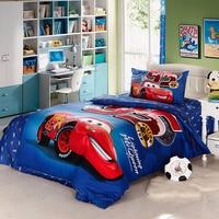 Genuine DISNEY 3D Lightning McQueen Car Bedding Set 95 Cartoon Blue Bedspred Duvet Cover Set Single
