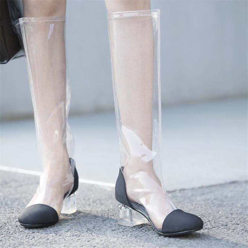 Long black Femmes Femme Transparent D'été Short Haute Long white White Sexy Bottes Sandales Moyen Pvc Chaussures black Short 2018 Cheville Talons Genou Pour De Pluie ZUIUHxpq