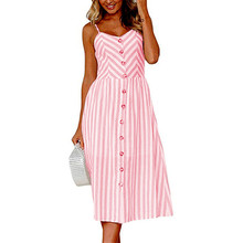 New Summer Cotton Striped Dress Women tunic v neck sleeveless red pink midi dresses pocket casual vestidos female