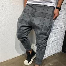 Мужские Винтажные клетчатые повседневные узкие брюки, мужские полосатые брюки на завязках с карманами, свободные шаровары, спортивные штаны размера плюс M-3XL