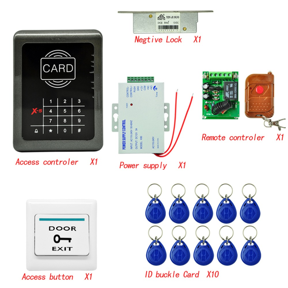 DIY RFID Access Control System Entrance Guard Kit+ Strike Lock+ Remote Control+ keyfobs+ 10 Cards + Access Button diy lock system metal keypadl k2 electric control lock 3a power supply exit button 10pcs key cards wireless remote control