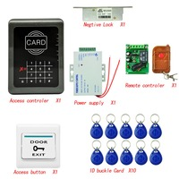 DIY RFID Access Control System Entrance Guard Kit+ Strike Lock+ Remote Control+ keyfobs+ 10 Cards + Access Button