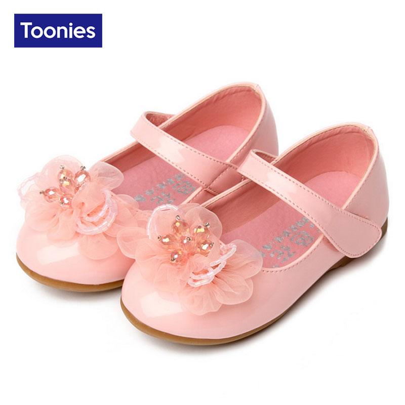 ФОТО Children Shoes Girls Shoes 2017 Brand Spring Autumn Flower Fashion Princess Sandals Kid Designer Single Casual Shoes 3 Color
